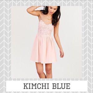 Kimchi Blue Pink Peach Flowy Lace Mini Dress
